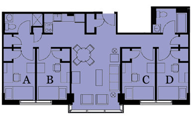 Floor plan for a four-bedroom two-bath suite at 10 Buick St.